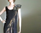 Hand painted silk dress with moth brooch