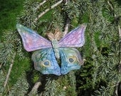 Silk hand painted embroidery brooch Butterfly