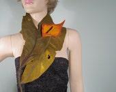 Felted leaf scarf with orange flower brooch
