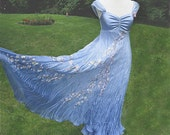 Silk hand painted blue summer dress with Cherry blossom flowers