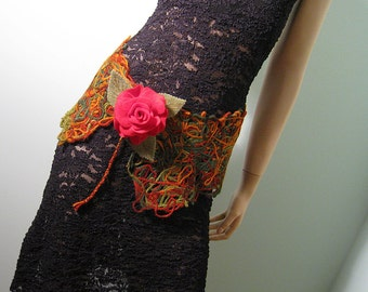 Needle felted belt with red rose brooch