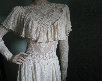 Victorian wedding dress, Vintage lace, romantic gown