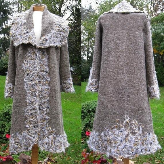 Mohair wool jersey long cardigan jacket coat