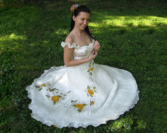Silk Hand Painted Wedding Gown Dress VICTORIAN By