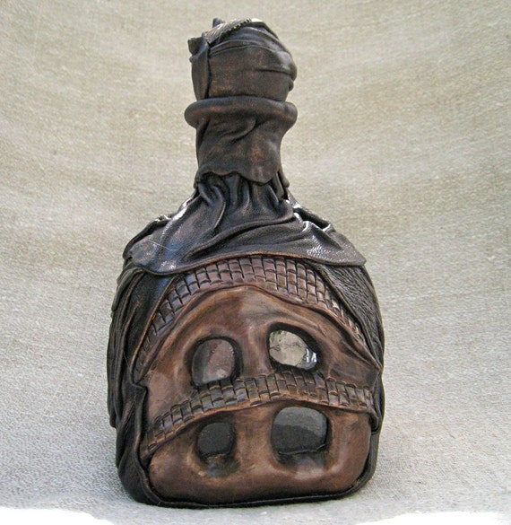 Custom order for Frances Leather and polymer clay decorative bottle