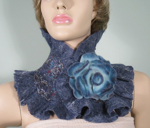 Felted ruffle scarf-collar with felted flower brooch