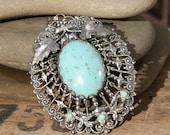 Vintage Pendant . Silver Filigree . Turquoise .