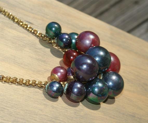 antique Necklace BLOWN GLASS Ball Brass