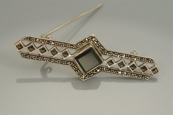 Marcasite ONYX  Vintage Sterling Bar PIN