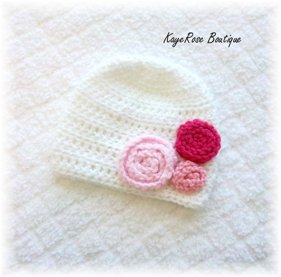 Baby Girl Rose Crochet Flower Hat Pink and White 3-6 Months