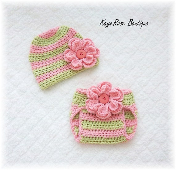 Newborn Baby Girl Crochet Flower Hat & Diaper Cover Set Pink and Lime Green Stripes