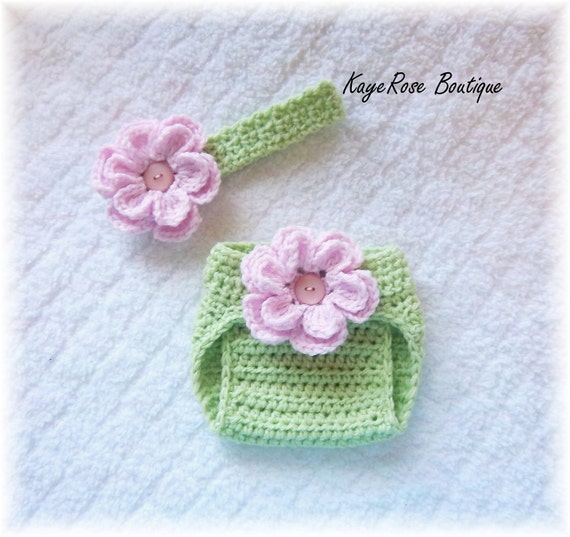 Newborn Baby Crochet Flower Headband & Diaper Cover Set Pink and Lime ...