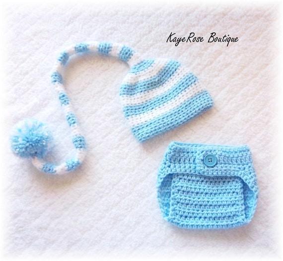 Newborn Baby Boy Stocking Cap & Diaper Cover Set Striped Blue and White
