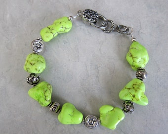 Lime Green Turquoise and Bali Bead Bracelet