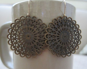 Antiqued Brass Filigree Earrings - Large