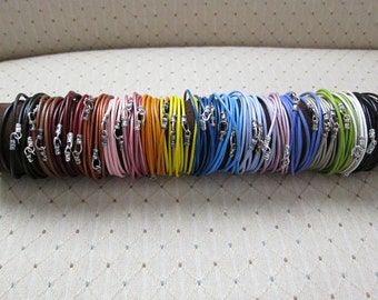 Colored Leather Wrap Bracelet(s)...(2MM)-3X