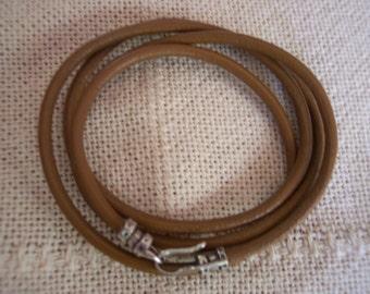 Brown Leather Wrap Bracelet (3MM)-4X