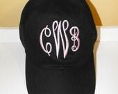 Monogrammed Ball Cap  Personalized Hat   E-Script
