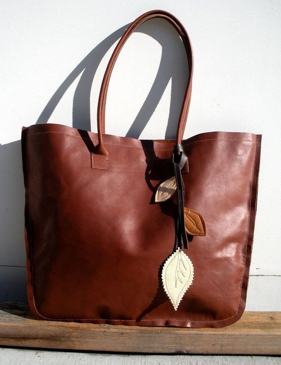 Falling Leaves Leather Tote