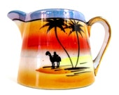 Vintage lusterware creamer palm trees and camel