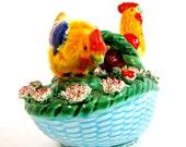 Vintage hen and rooster salt and pepper basket