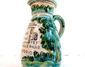Vintage Sno de Botin advertising pitcher majolica glaze