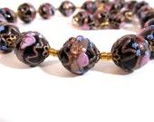 Vintage Fiorato wedding cake bead necklace