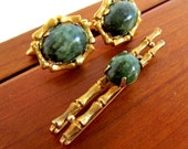 Vintage Krementz gold bamboo and jade tie clip and cuff links