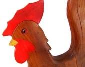 Vintage carved wooden rooster American folk art