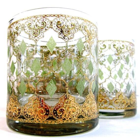 RESERVED FOR TKB Vintage Culver old fashioned glasses