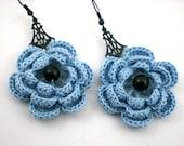 Crochet Rose Flower Earrings Blue Black Pierced