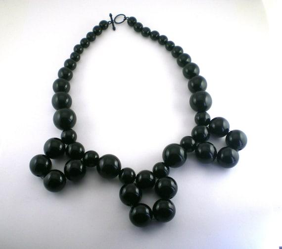 Statement Bold Plastic Bib Necklace Black