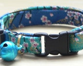 Adjustable Cat Collar with Bell / Cherry Blossoms on Blue