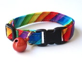 Safety Cat Comfort Collar, Adjustable, Rainbow Stripe