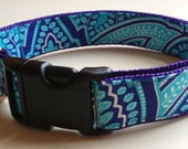 Paisley Dog Collar, Custom and Adjustable in Sky Blue Paisley