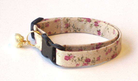 Breakaway Cat Collar, Comfortable and Adjustable with Pearl - English Rose