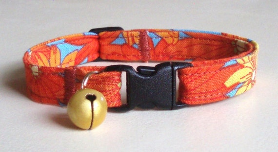 Cat Collar, Safety Breakaway, Adjustable and Comfortable in Retro Sunflower Orange with Bell