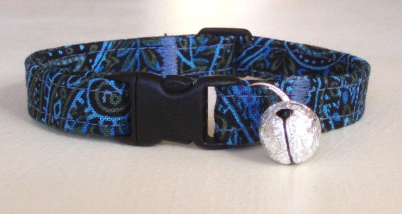 Blue Paisley Cat Collar, Adjustable and Comfortable with Bell