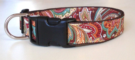 Paisley Dog Collar, Adjustable and Comfortable in Autumn Gold Paisley
