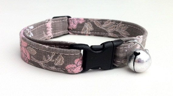 Primrose Gray Safety Cat Collar, Comfortable, Sturdy and Adjustable