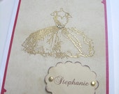 Aged Personalized Vintage Inspired Dress Card with Crystal Embellishments