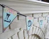 LOVE Banner- Vintage Flowers with crystals-Tea Party-Blue-Photo booth prop- Ready to ship