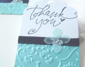 Set of 10 Embossed Damask Hang Tag- Handmade- Turquoise- Blue Vellum Flower and Ribbon