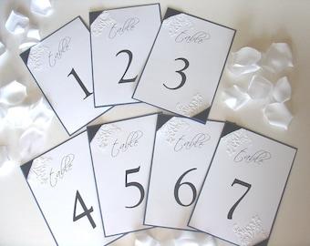 Table Number- Embossed Flourish- Ribbon Corners-Vintage Garden Suite