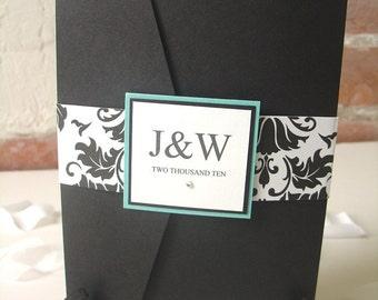 Damask Inspired Pocketfold Wedding Invitation
