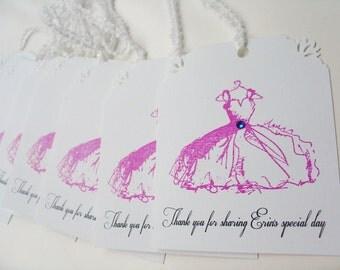 Fancy Dress Tags- Bridal Shower-Favor gift bag tag- Set of 10