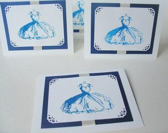 Handmade Dress Card-Ribbon and hand stamped image-Bridesmaid Invitation