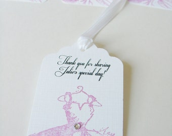 Thank You for Sharing -Handstamped Dress- Bridal Shower Tags