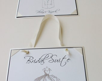 Bridal Suite Sign and Groom's Suite-Embossed with crystals-Ribbon Corners-Knotted Wide Ribbon to hang