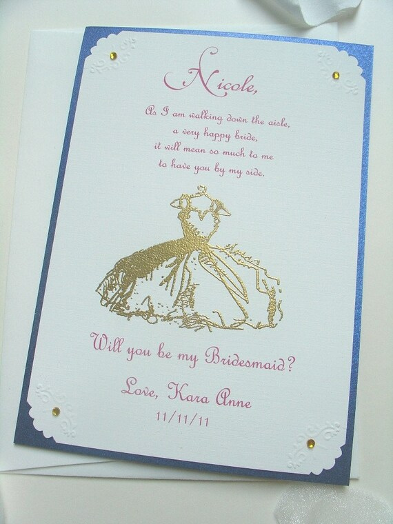 Bridesmaid Invitation 5x7- COLORED INK- Will you be my- Wedding- Maid of Honor- Matron of Honor- FlowerGirl- Dress